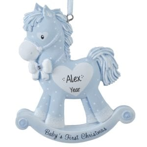 baby boys 1st christmas blue rocking horse personalized ornament - Baby Boy First Christmas Ornament