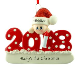 2018 baby girls 1st christmas red dotted ornament