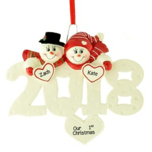 2018 1st christmas snow couple hearts ornament - Couples First Christmas Ornament