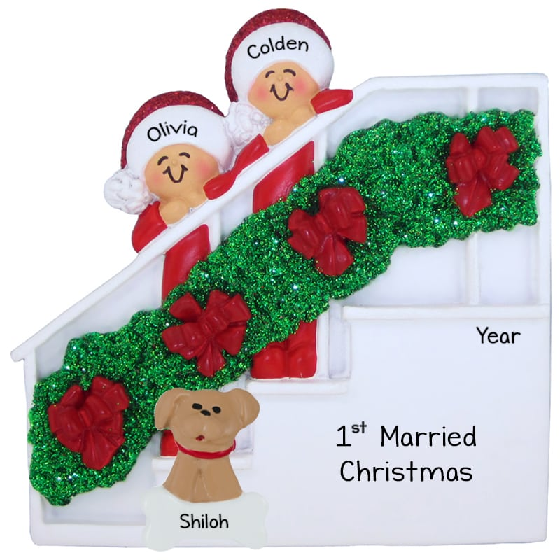 first married christmas couple dog christmas stairs ornament