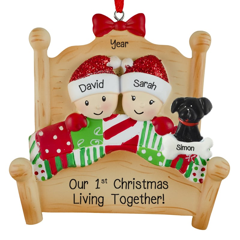 Dogs First Christmas Ornament.First Christmas Living Together Bed Couple Dog Ornament