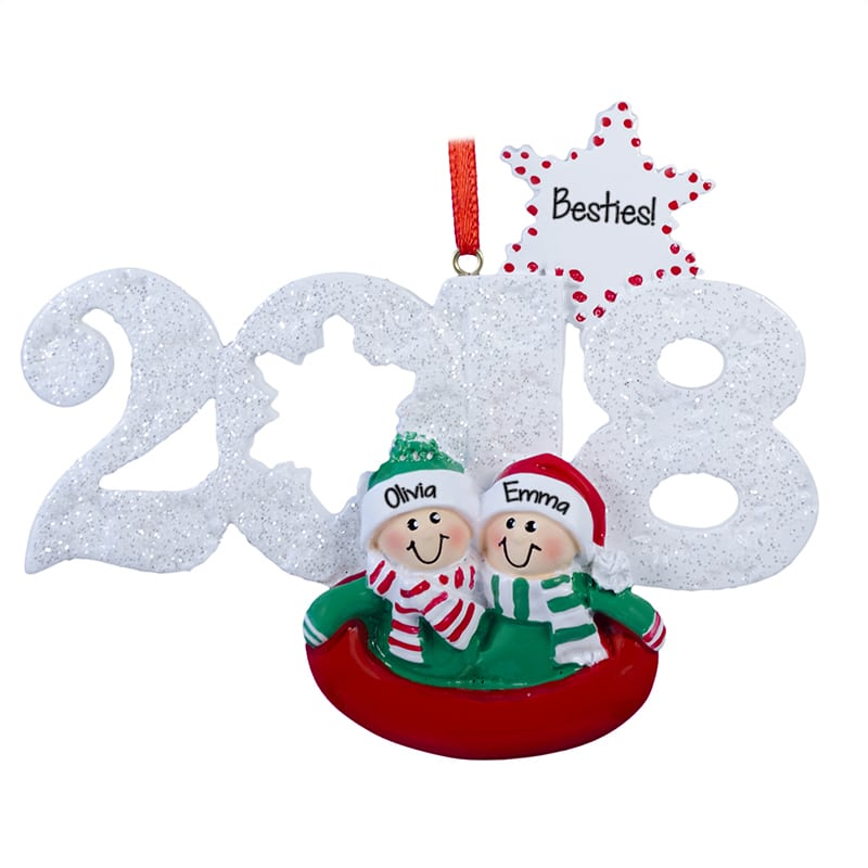 personalized 2018 2 best friends in sled christmas ornament