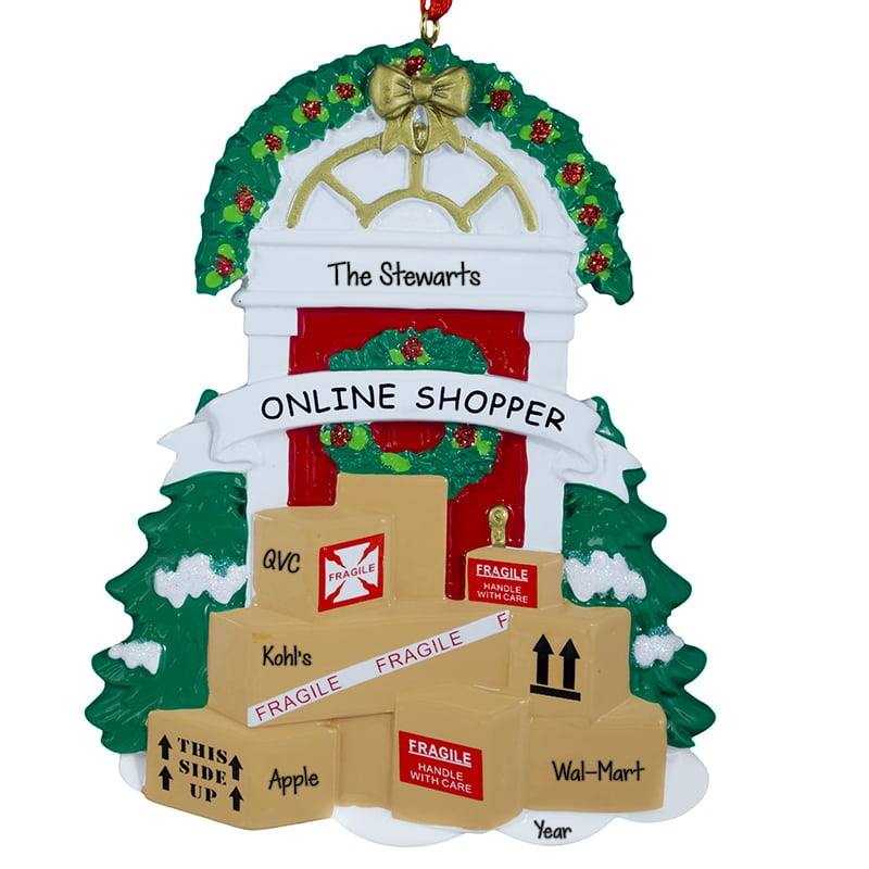 Online Shopper Front Door With Packages Ornament