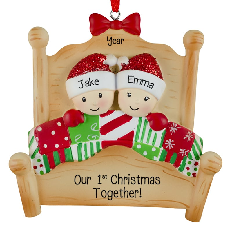 first christmas together heart christmas lights glittered ornament - Couples First Christmas Ornament
