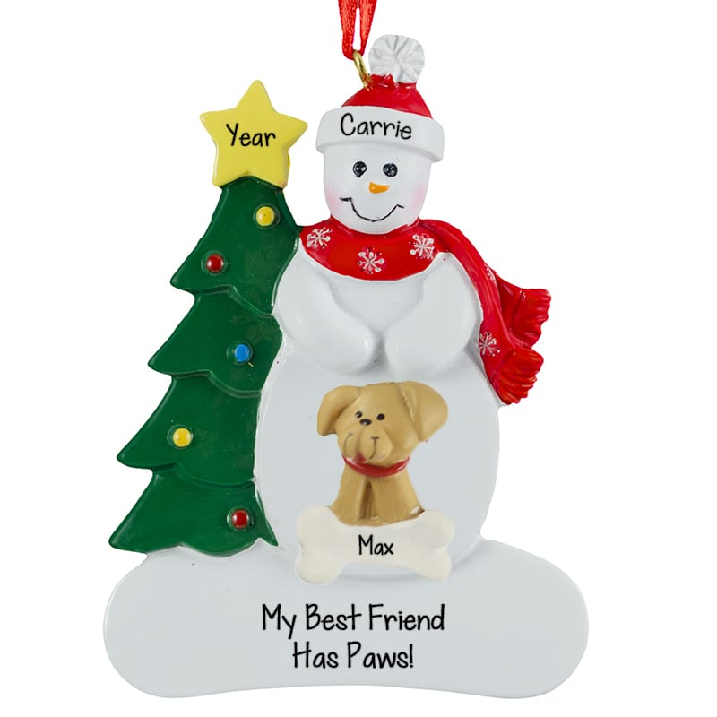 my best friend has paws snowman dog ornament