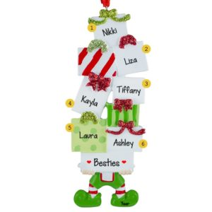 six best friends elf holding packages ornament - Best Friend Christmas Ornaments