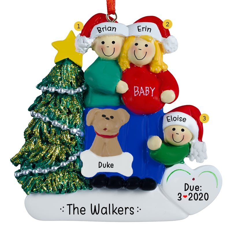 768e93b27bc2 Expecting Couple With One Child + Pet Ornament BLONDE Mom ...