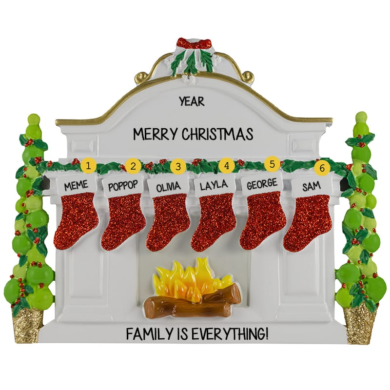 9402f7170 Grandparents And 4 Grandkids Table Top Decoration Mantle Glittered Stockings