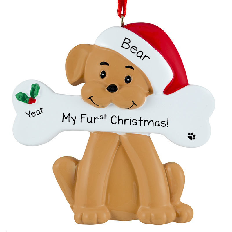 Dogs First Christmas Ornament.Tan Dog S First Christmas Bone Ornament