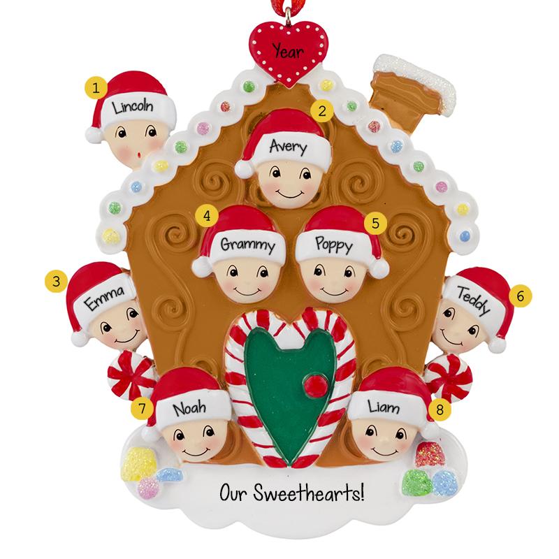 b6336914c Grandparents With Six Grandkids Gingerbread House Ornament