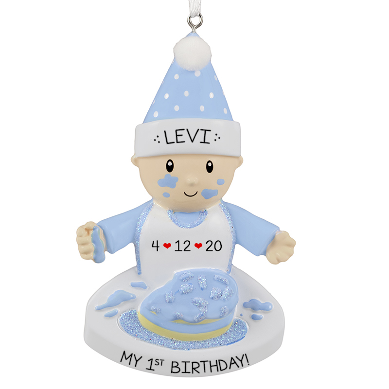 Awe Inspiring Baby Boys 1St Birthday Cake On Face Ornament Personalized Personalised Birthday Cards Beptaeletsinfo