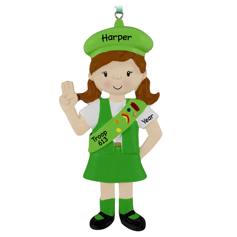 Girl Scout Wearing Uniform And Sash Ornament Green Personalized Ornaments For You