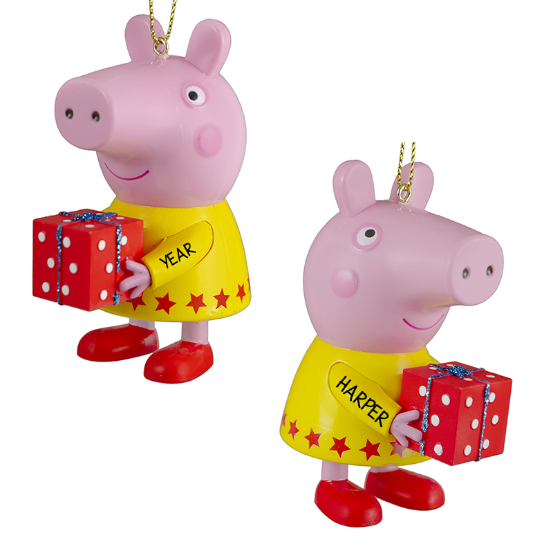 Peppa Pig Yellow Dress Holds Gift Ornament