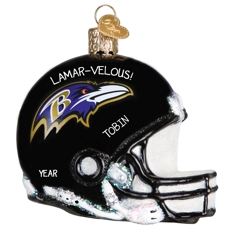 Personalized Baltimore Ravens Helmet Totally Dimensional Glittered Glass Ornament Personalized Ornaments For You