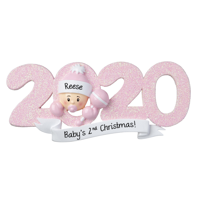 Babys Second Christmas 2020 2020 Baby Girl's 2nd Christmas Personalized Glittered Ornament
