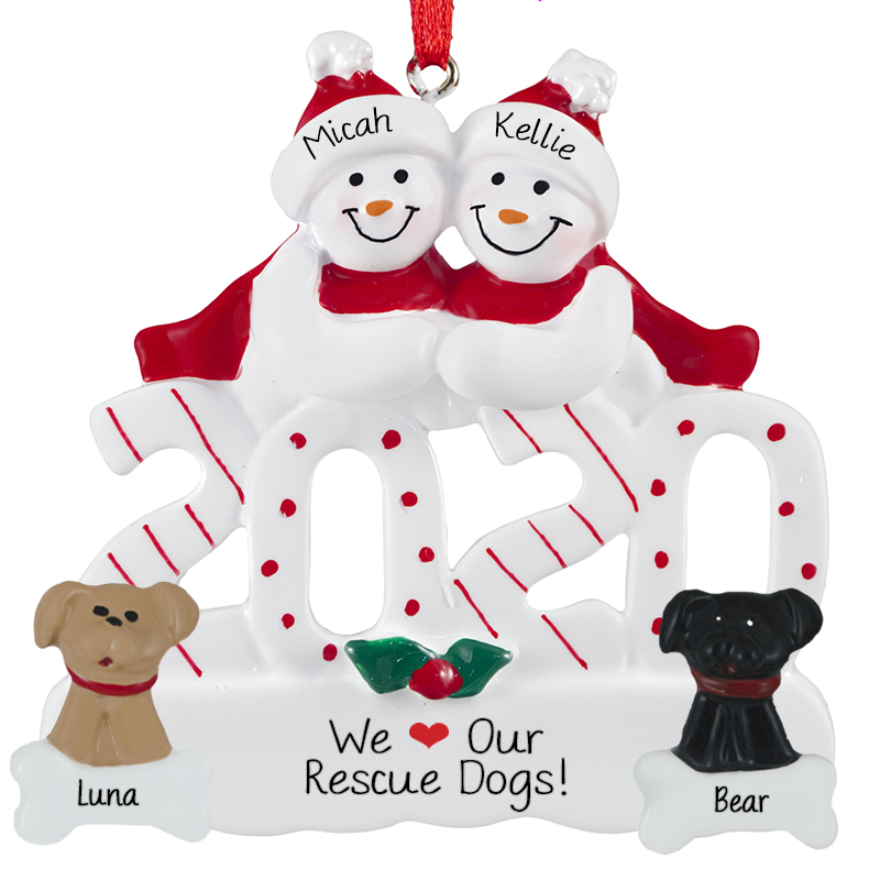 Personalized 2020 Couple With 2 Rescue Dogs Ornament