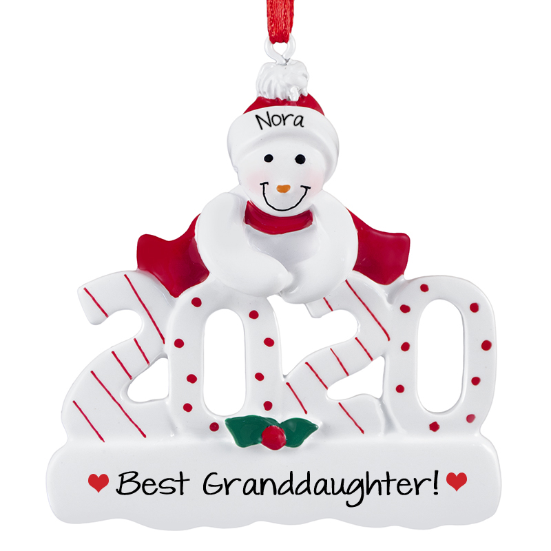 Personalized Granddaughter Christmas Ornaments 2020 Personalized 2020 Granddaughter Snowman Christmas Ornament