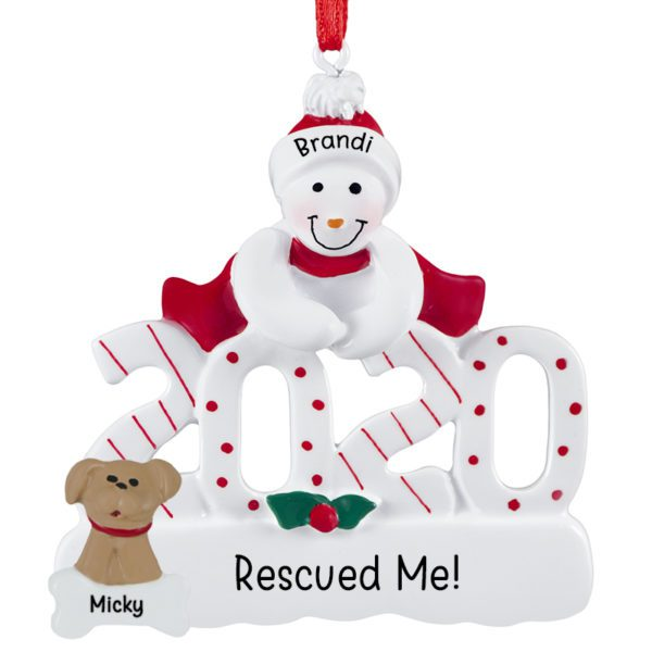 Christmas Rescue Dog Graphics 2020 Personalized 2020 Snowman With Rescued Dog Ornament | Personalized