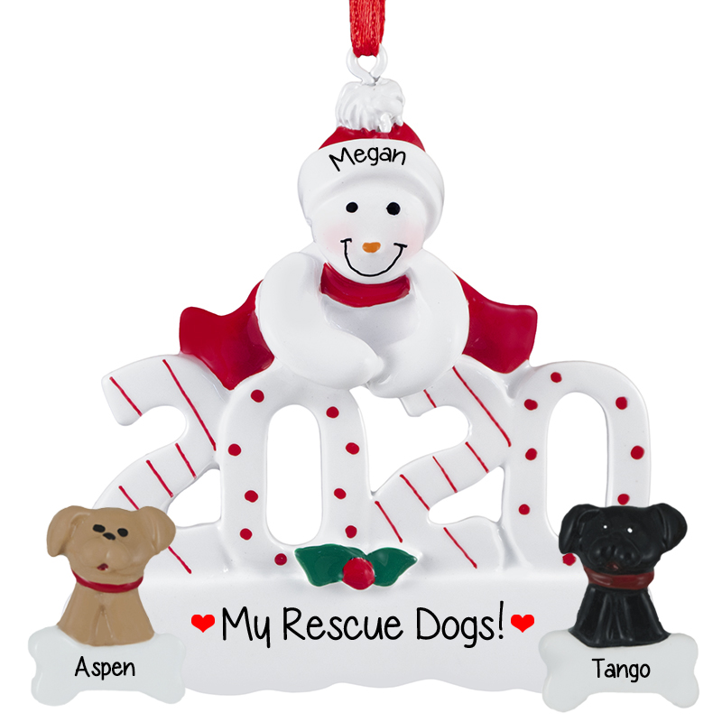 Personalized 2020 Snowman With Two Rescue Dogs Ornament