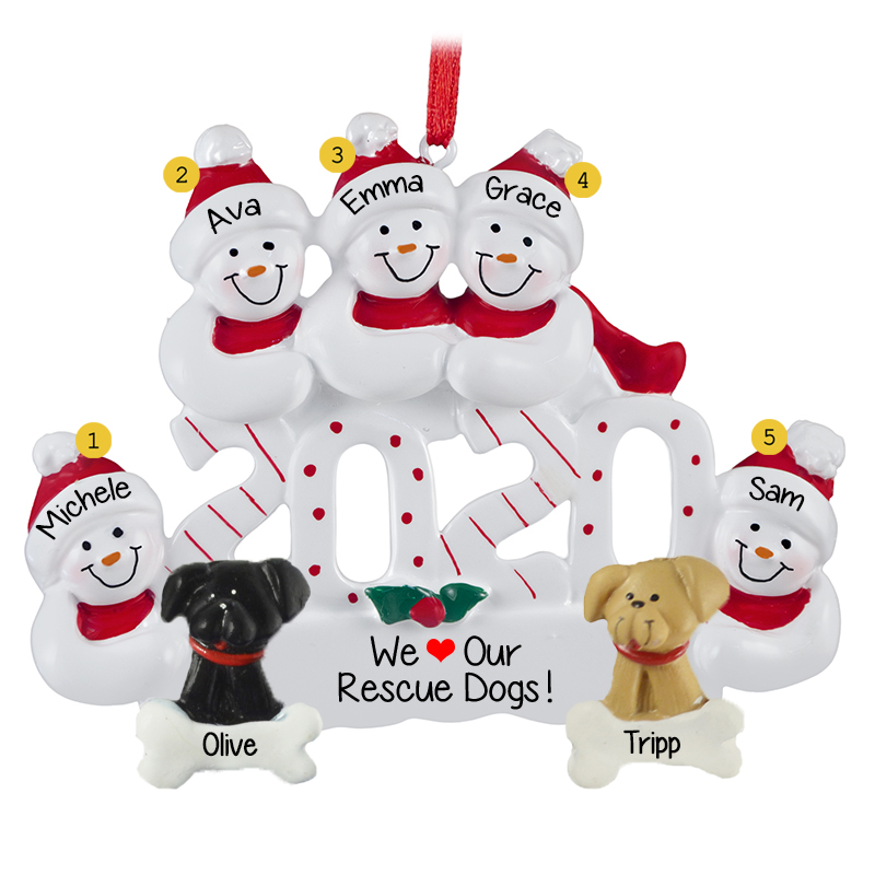 Personalized 2020 Snow Family Of 5 With 2 Rescue DOGS Ornament