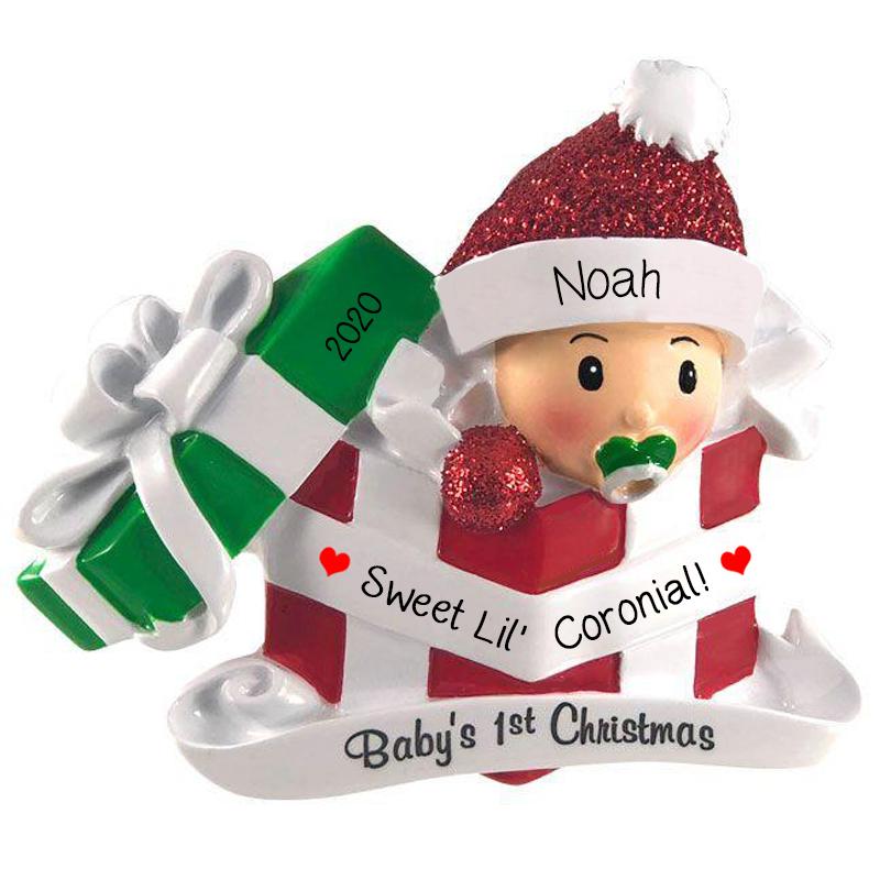 Baby Boy Born During Coronavirus Present Personalized Ornament Red Personalized Ornaments For You