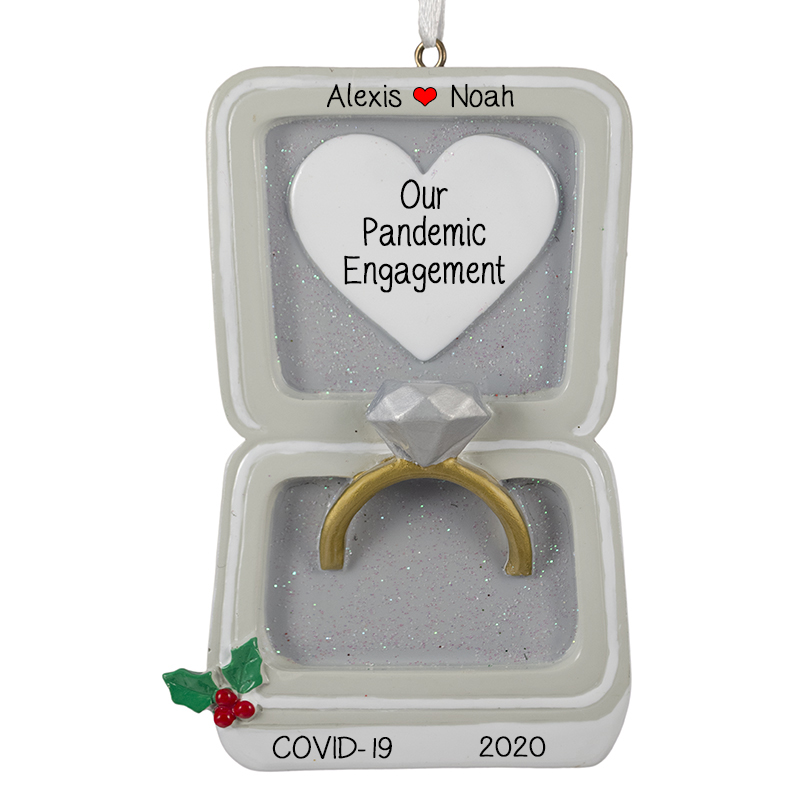 Engaged During COVID 19 Personalized SILVER Box Ornament