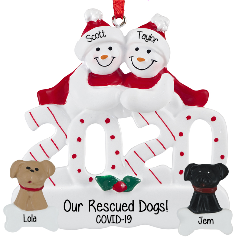 2020 Personalized Snow Couple With 2 DOGS Ornament | Personalized