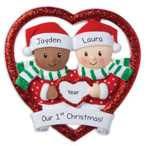 Same Sex Couple in Rainbow Heart  Pride Rainbow  Interracial Couple Ornament  Mixed First Christmas Ornament  Personalized Ornament